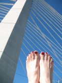 Nancie's toes cross Portland's newest bridge