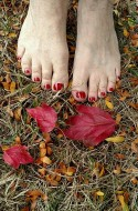 Nancie's toes celebrating fall