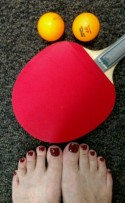 Nancie's toes get ready for table tennis