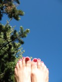 Nancie's toes enjoy the last of the summer sun